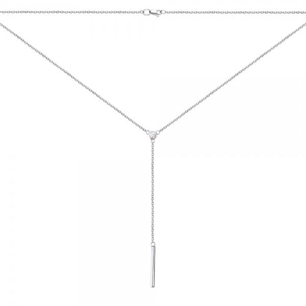 Серебряное колье 925 пробы с фианитами NCz-7751 Ag