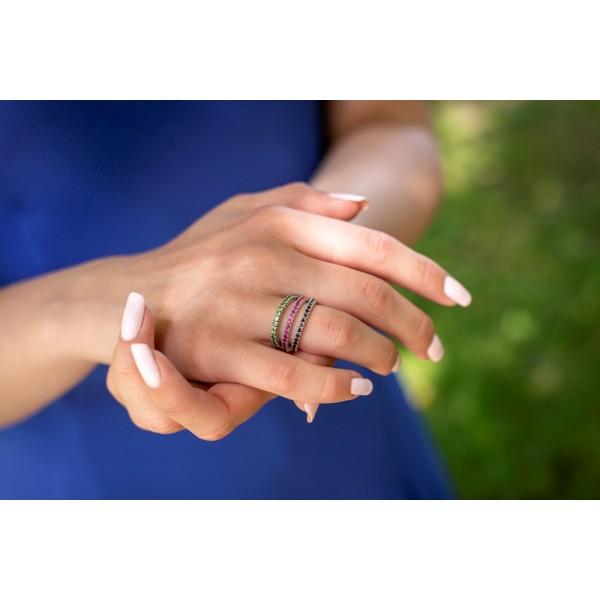 Ювелирное кольцо из белого золота 585 пробы с рубинами RR-15011w