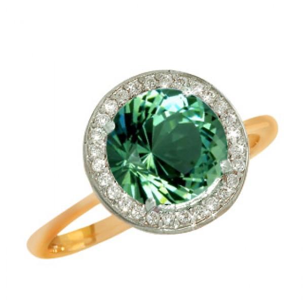 Ювелирное кольцо из красного золота 585 пробы с кварцом и фианитами 2к704/129