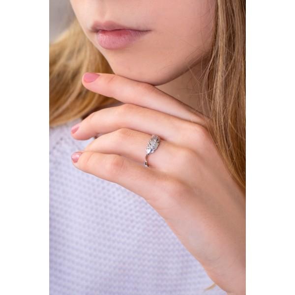 Кольцо из белого золота 585 пробы с бриллиантами Перышко RD-5611w