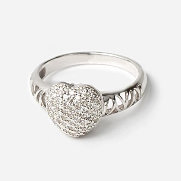 """Ювелирное кольцо в форме сердечка из белого золота 585 пробы с бриллиантами """"паве"""" RD-6601w"""