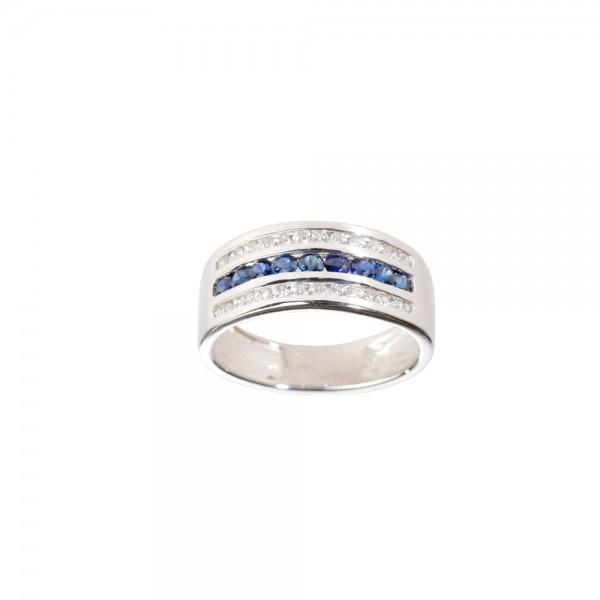 Ювелирное кольцо из серебра 925 пробы с сапфирами и фианитами RCzS-6130Ag