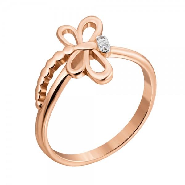 """Ювелирное кольцо """"Стрекоза"""" из красного золота 585 пробы с бриллиантами RD-00274"""