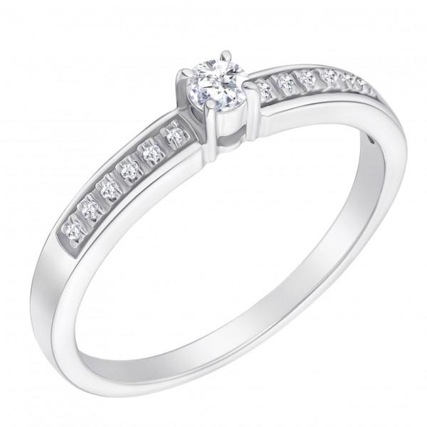 Ювелирное кольцо из белого золота 585 пробы с бриллиантом RD-6695w