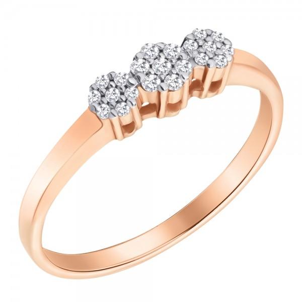 Ювелирное кольцо из красного золота 585 пробы с бриллиантами RD-6713