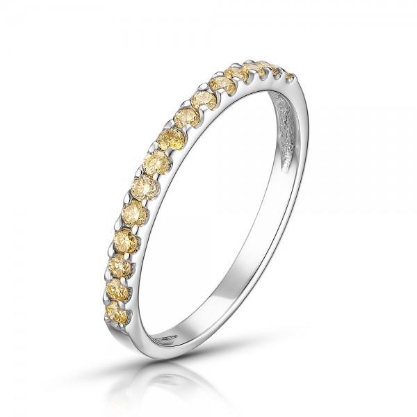 Ювелирное кольцо из белого золота 585 пробы с жёлтыми бриллиантами RDy-15446w