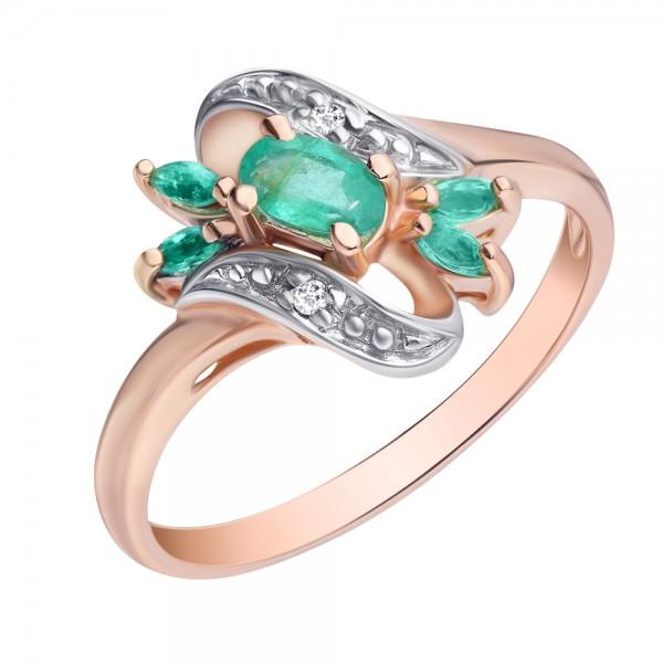 Ювелирное кольцо из красного золота 585 пробы с изумрудами и бриллиантами RE-1151