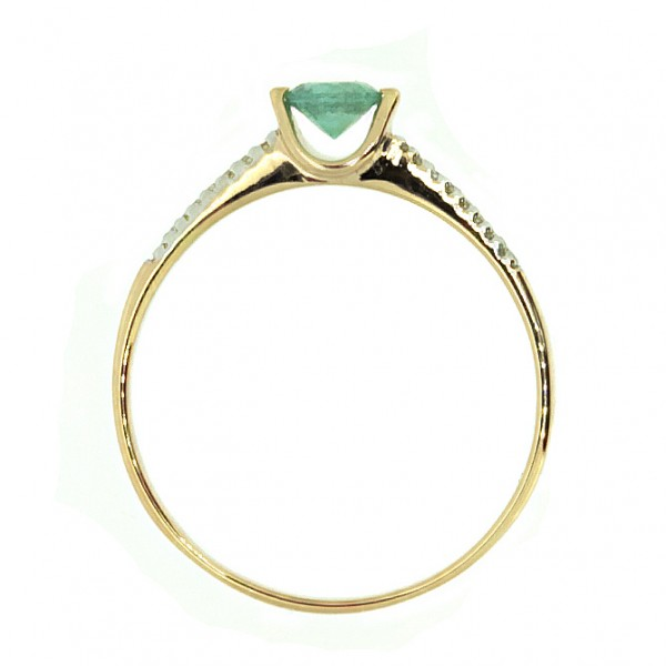 Ювелирное кольцо из красного золота 585 пробы с изумрудом и бриллиантами RE-6677