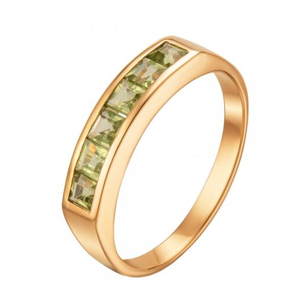 Ювелирное кольцо из красного золота 585 пробы с хризолитами RPd-6121