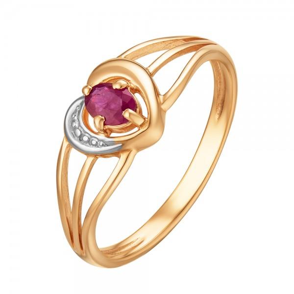 Ювелирное кольцо из красного золота 585 пробы с рубином RR-6056