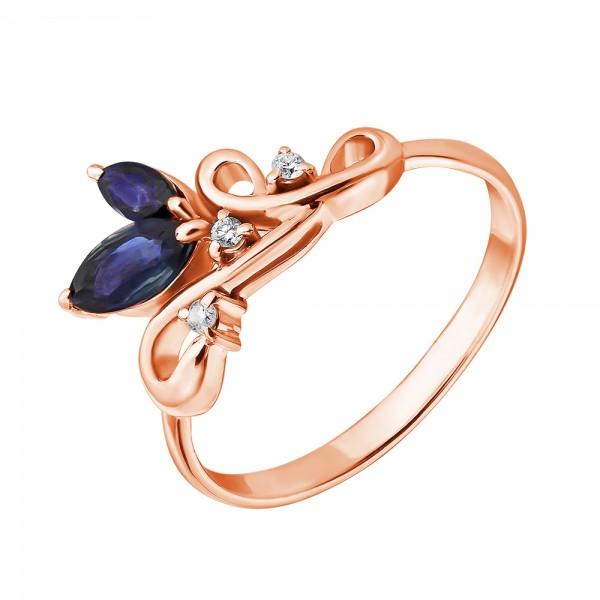 Ювелирное кольцо из красного золота 585 пробы с сапфирами и бриллиантами RS-6734
