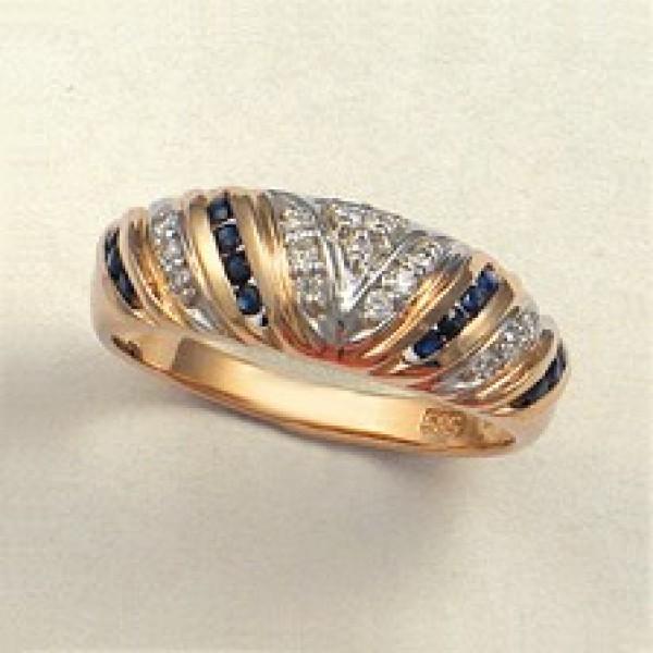 Ювелирное кольцо из красного золота 585 пробы с сапфирами и бриллиантами RS-61