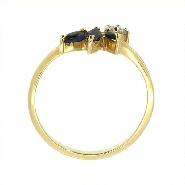 Ювелирное кольцо из красного золота 585 пробы с сапфирами и бриллиантом RS-26