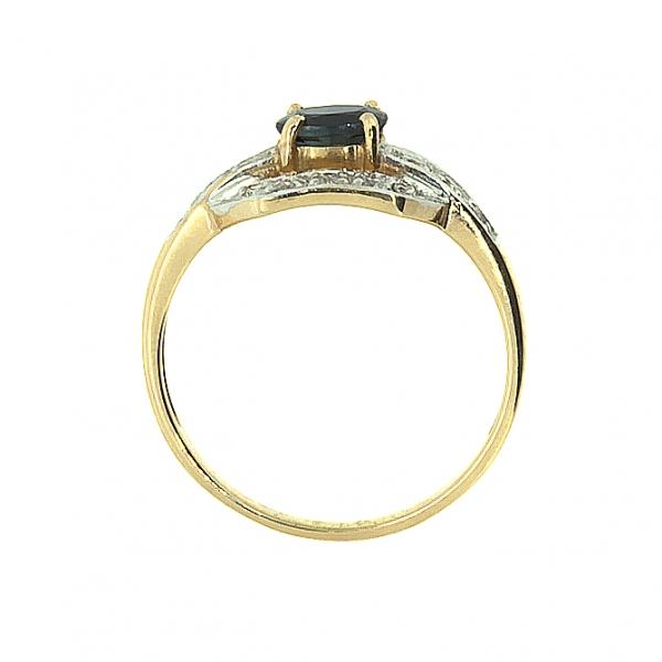 Ювелирное кольцо из красного золота 585 пробы с сапфиром и бриллиантами RS-588