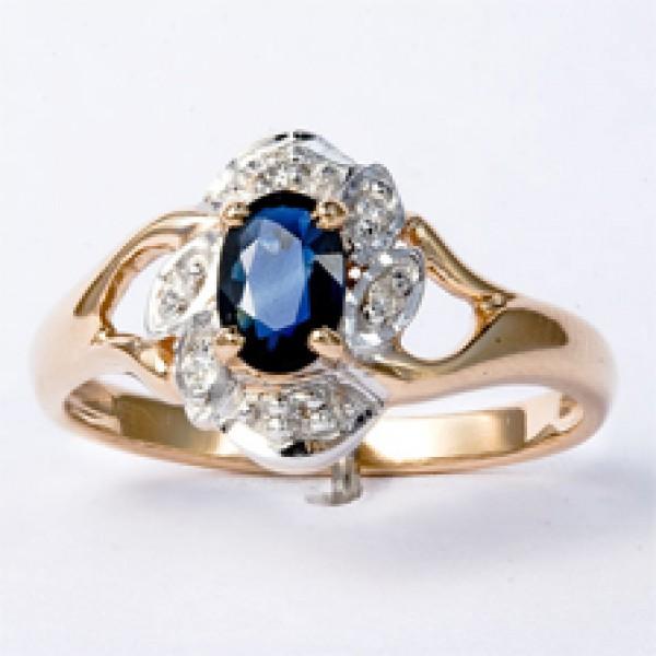 Ювелирное кольцо из красного золота 585 пробы с сапфиром и бриллиантами RS-621