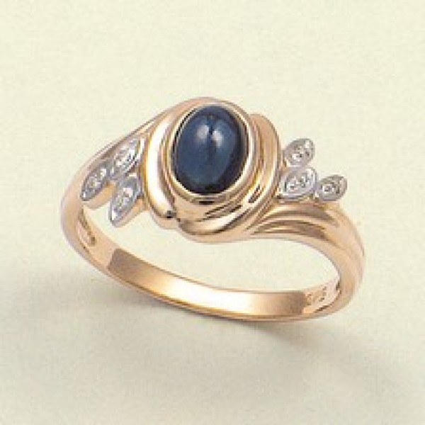Ювелирное кольцо из красного золота 585 пробы с сапфиром и бриллиантами RS-622