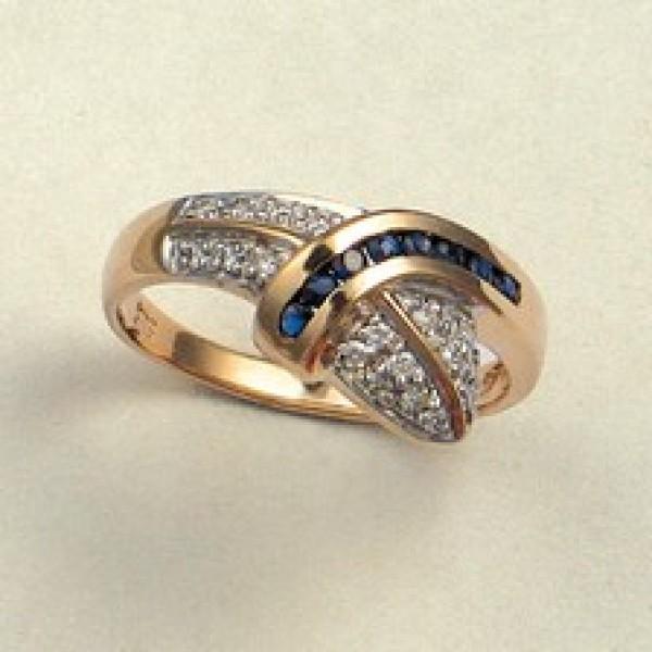 Ювелирное кольцо из красного золота 585 пробы с сапфирами и бриллиантами RS-925