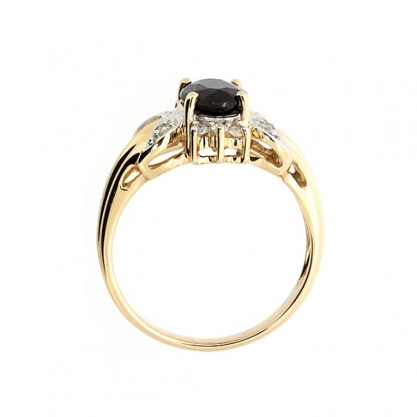 Ювелирное кольцо из красного золота 585 пробы с сапфиром и бриллиантами RS-1101