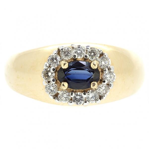 Ювелирное кольцо из красного золота 585 пробы с сапфиром и бриллиантами RS-3606