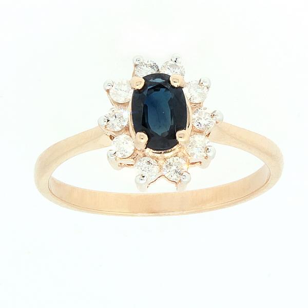 Ювелирное кольцо из красного золота 585 пробы с сапфиром и бриллиантами RS-4235