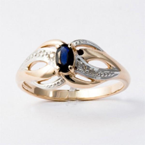 Ювелирное кольцо из красного золота 585 пробы с сапфиром и бриллиантами RS-6050