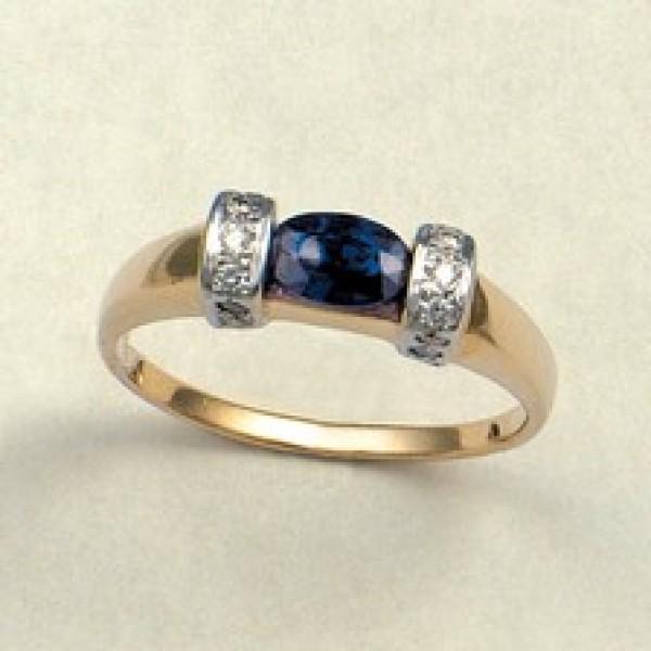 Ювелирное кольцо из красного золота 585 пробы с сапфиром и бриллиантами RS-6072