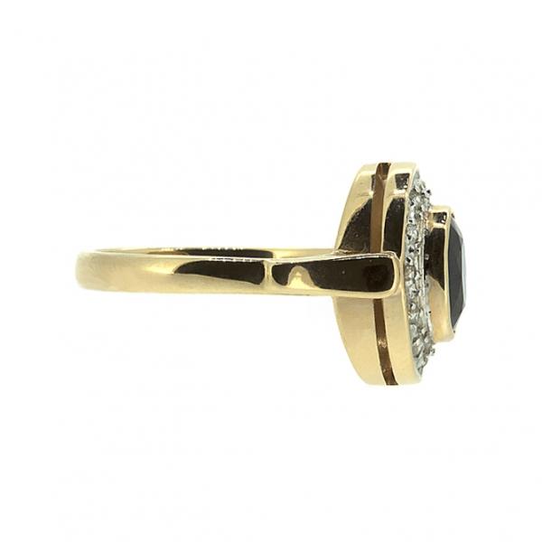 Ювелирное кольцо из красного золота 585 пробы с сапфиром и бриллиантами RS-6171