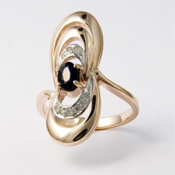 Ювелирное кольцо из красного золота 585 пробы с сапфиром и бриллиантами RS-6270