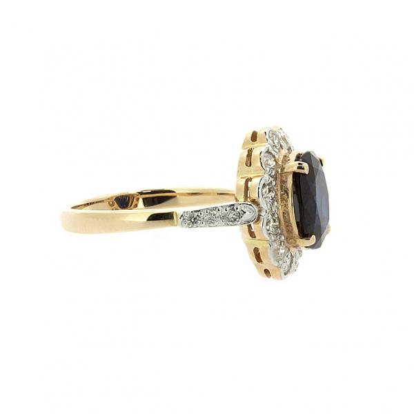 Ювелирное кольцо из красного золота 585 пробы с сапфиром и бриллиантами RS-6281