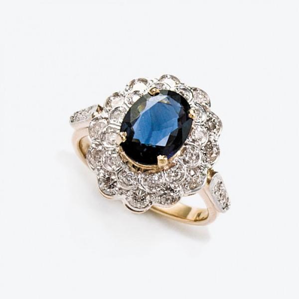 Ювелирное кольцо из красного золота 585 пробы с сапфиром и бриллиантами RS-6283