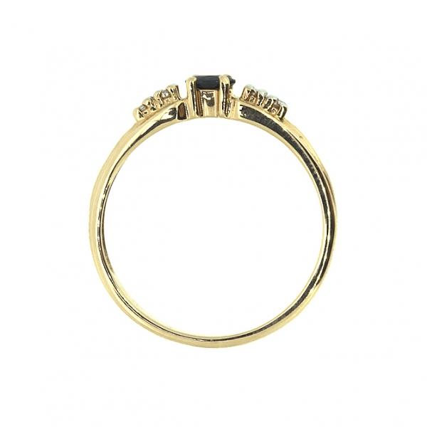 Ювелирное кольцо из красного золота 585 пробы с сапфиром и бриллиантами RS-9038