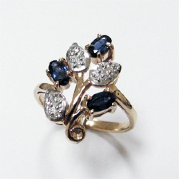 Ювелирное кольцо из красного золота 585 пробы с сапфирами и бриллиантами RS-6152