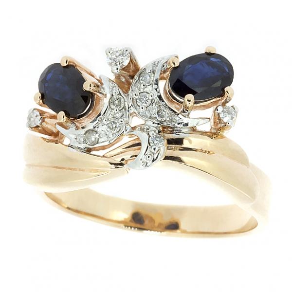 Ювелирное кольцо из красного золота 585 пробы с сапфирами и бриллиантами RS-6226
