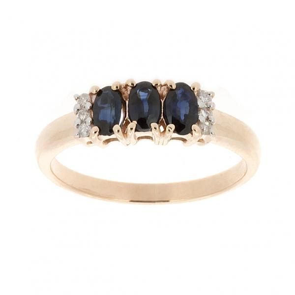 Ювелирное кольцо из красного золота 585 пробы с сапфирами и бриллиантами RS-10353