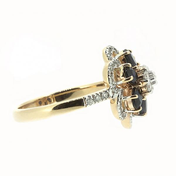 Ювелирное кольцо из красного золота 585 пробы с сапфирами и бриллиантами RS-6623