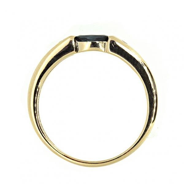 Ювелирное кольцо из красного золота 585 пробы с сапфиром и бриллиантами RS-6049