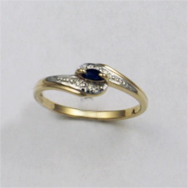 Ювелирное кольцо из красного золота 585 пробы с сапфиром и бриллиантами RS-6057