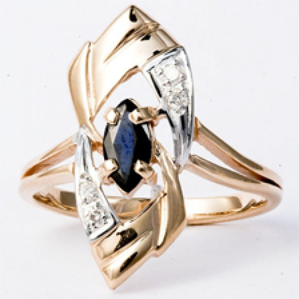 Ювелирное кольцо из красного золота 585 пробы с сапфиром и бриллиантами RS-6178