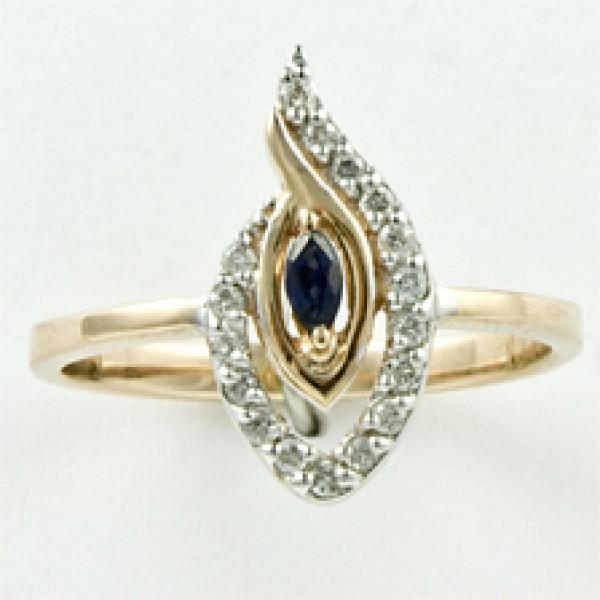 Ювелирное кольцо из красного золота 585 пробы с сапфиром и бриллиантами RS-6495