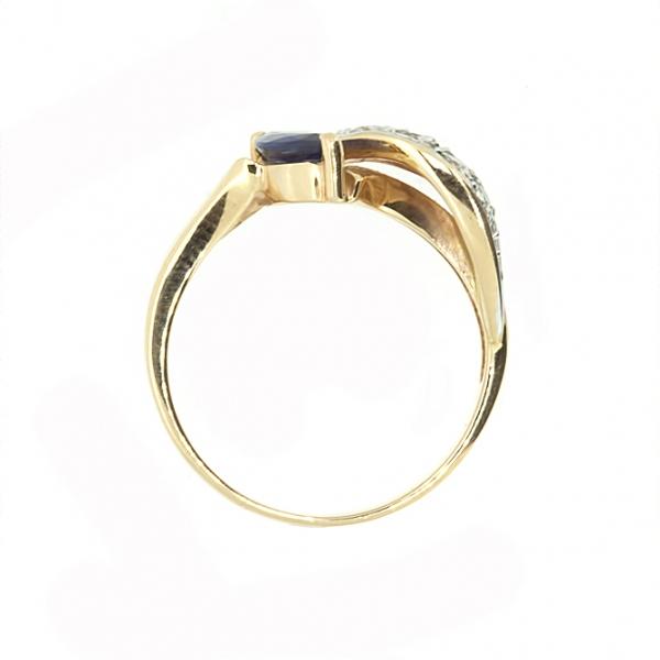 Ювелирное кольцо из красного золота 585 пробы с сапфиром и бриллиантами RS-6520
