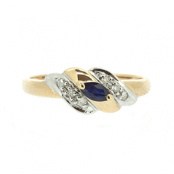 Ювелирное кольцо из красного золота 585 пробы с сапфиром и бриллиантами RS-9006