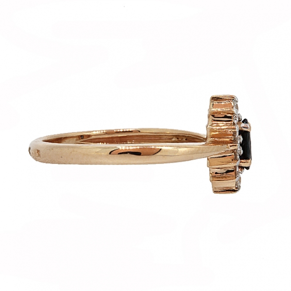 Ювелирное кольцо из красного золота 585 пробы с сапфиром и бриллиантами RS-9040