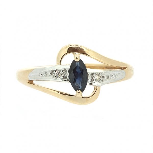 Ювелирное кольцо из красного золота 585 пробы с сапфиром и бриллиантами RS-15904
