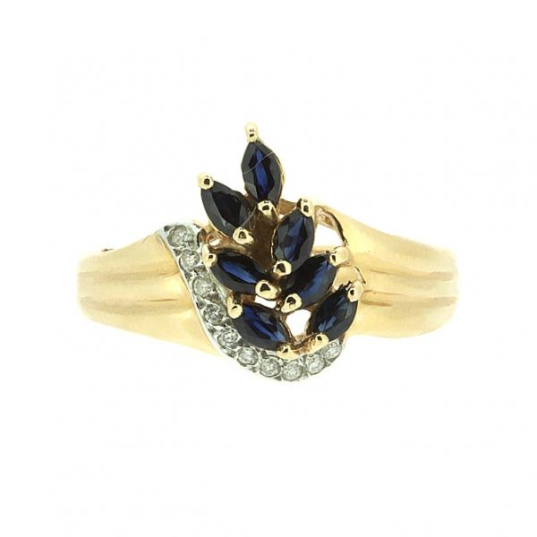Ювелирное кольцо из красного золота 585 пробы с сапфирами и бриллиантами RS-6090