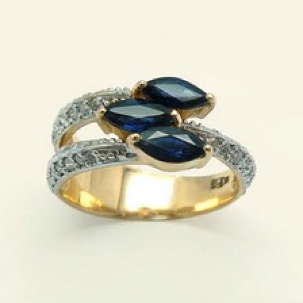 Ювелирное кольцо из красного золота 585 пробы с сапфирами и бриллиантами RS-6547