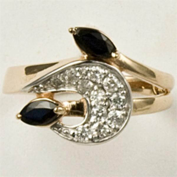 Ювелирное кольцо из красного золота 585 пробы с сапфирами и бриллиантами RS-6548