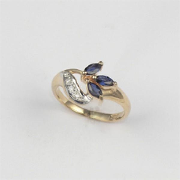 Ювелирное кольцо из красного золота 585 пробы с сапфирами и бриллиантами RS-9002