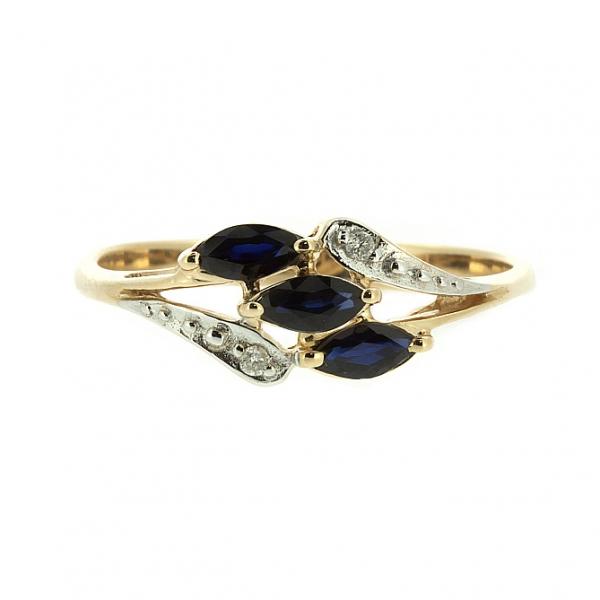 Ювелирное кольцо из красного золота 585 пробы с сапфирами и бриллиантами RS-70016