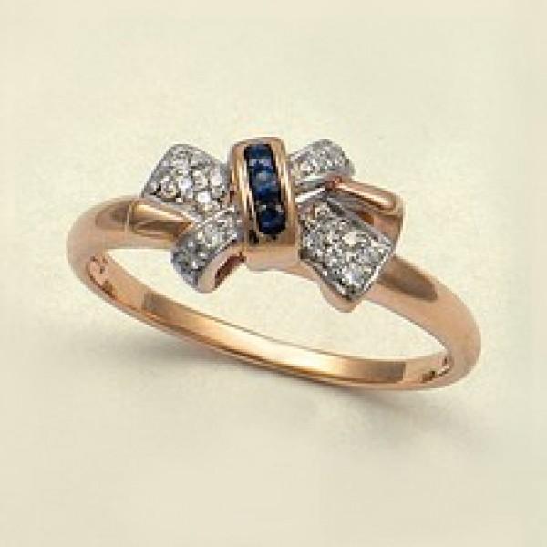 Ювелирное кольцо из красного золота 585 пробы с сапфирами и бриллиантами RS-2278