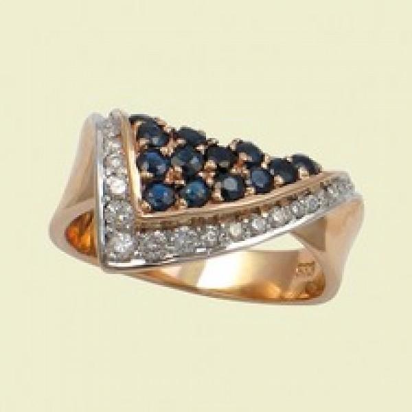 Ювелирное кольцо из красного золота 585 пробы с сапфирами и бриллиантами RS-6005